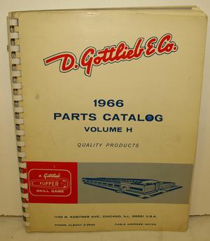 Parts Catalog Gottlieb 1966